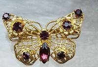 Vintage 1950s Czech Filigree Purple Rhinestone Butterfly Brooch