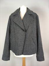 Tu Woman Short Jacket Coat UK 20 Asymmetrical Zip Collar Herringbone