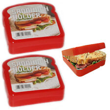 2 Sandwich Holder Container Keeper Lunch Box Snack Food Storage Hinged Reusable