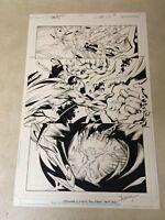 TRINITY #47 original art SUPERMAN BATTLE PAGE, MARK BAGLEY of SPIDER-MAN, 2009