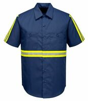 Portwest F124 Iona Xtra Short Sleeve Workwear Shirt with Hi Vis Reflective Tape
