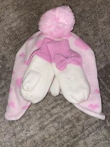 Children's Place Girls Hat and Mittens - Pink Hearts and Bows - M 2t-3t