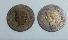 2 monnaies munten république française 5 centimes 1872 A et 1887 A