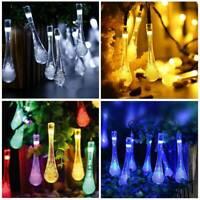 30 LED Solar Water Drop String Lights Xmas Tree Christmas Hanging Fairy Lights