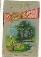 Scenic Water River Gold Gilt Gel vintage Flower Postcard