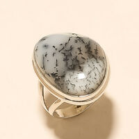 Natural Australian Dendritic Opal Ring 925 Sterling Silver Easter Women Jewelry