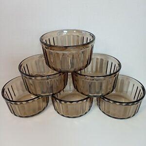 "6 Brown Glass Ramekins Arcopal France Ribbed  3""/8 cm W x 1.75""/ 4 cm H"