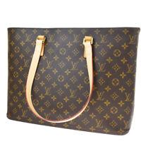 Auth LOUIS VUITTON Luco Tote Shoulder Bag Monogram Leather Brown M51155 89BQ560