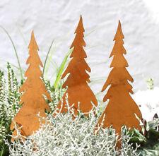 3er SET Gartendeko Gartenstecker Roststecker Garten Rost Metall Tannenbaum Deko