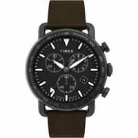 Timex Men's Watch Port Chronograph Black Dial Leather Strap TW2U02100VQ