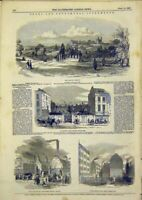 Original Old Antique Print Lambeth Burial Ground Drury-Lane Blackfriars 1849