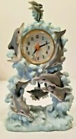 DOLPHIN Figurine Mantel Clock  Young Town Quartz Clock with Pendulum  NOS