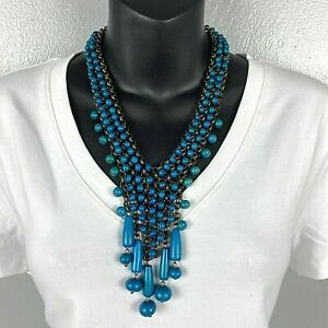 Necklace Blue Turquoise Color Beads Chainmail Boho Bohemian Festival