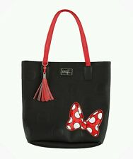 DISNEY PARKS BOUTIQUE MINNIE MANIA MOUSE SHOULDER BAG TOTE BLACK RED BOW