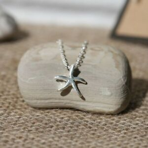 Stainless Steel Starfish Charm Necklace + Canvas Gift Bag