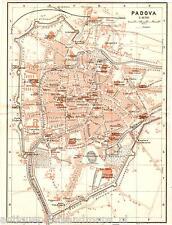 Antique map Padua Padova Italy 1909 mappa antica carta plan