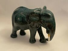 Vintage Carved Malachite Elephant Figurine Stunning Collectible