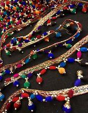 1 m Multicolore Pearl Bead Sari Fringe Tassel Dupatta Border Sew sur Bordure