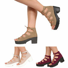 WOMENS LADIES BLOCK HEEL CHUNKY PLATFORM LACE UP ANKLE SANDALS SHOES SIZE