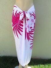 White  Pink Hibiscus Flower Floral Pareo Sarong Hawaiian Shawl Wrap Skirt Dress