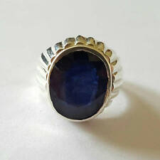 Blue Real Sapphire Rings Neelam Ring for Men in 925 Silver handmade Healing Ring