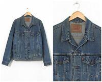 90s Vintage Mens LEVIS Trucker Jeans Denim Jacket Blue Size 2XL