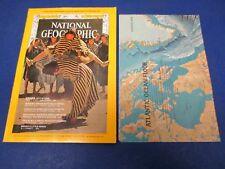 National Geographic Magazine , June 1968, Double Map: Atlantic Ocean &  Floor