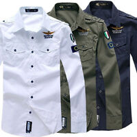 NEW Men's Cotton Casual Air Force Shirt Long Sleeve Army Work Dress Shirts Tops