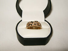 Mens 14K Gold Nugget Ring with 4 Diamonds Size 10.5 7 grams