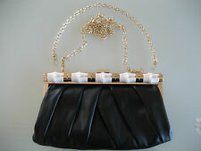 AUTHENTIC KAILIGULA LEATHER CLUTCH PURSE WITH 2 SHOULDER CHAINS MADE IN P.R.C.