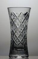 "STUART CUT GLASS CRYSTAL VASE 6"" TALL - SIGNED - ORIGINAL BOX"