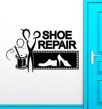 Vinyl Wall Decal Shoe Repair Logo Signboard Threads Needle Stickers (2637ig)