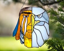 Stained Glass Window Hanging Suncatcher Native american Home Decor eagle-indian