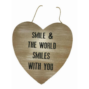 "NEW ""SMILE AND THE WORLD SMILES WITH YOU"" wood heart shaped sign wall decor"