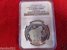 Zaire (Belgian Congo) 1975 Silver coin Wildlife Gorillas PCGS ANACS NGC ICG PF66
