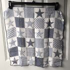"""Navy Blue 21"""" Square Patriotic Neck Scarf with Stars Stripes and Plaid Pattern"""