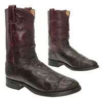 JUSTIN Cowboy Boots 6.5 D Mens Brown Leather Western Roper Boot Motorcycle Biker
