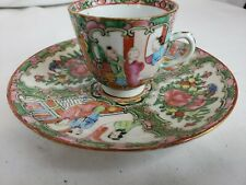 antique chinese famille rose coffee cup and plate