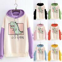 Women Long Sleeve Dinosaur Printed Hooded Sweatshirt Patchwork Pullover Blouse