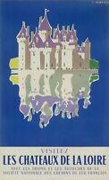 Affiche Originale - Jean Jacquelin - Châteaux de la Loire - Chemins de fer 1956