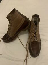 Timberland American Craft Moc Toe Boots Canvas Brown Leather Uk 9