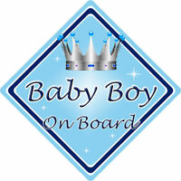 Non Personalised Child/Baby On Board Car Sign ~ Baby Boy On Board ~ L.Blue