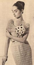 Vintage Crochet PATTERN to make Lacy Motif Squares Sheath Party Dress Formal