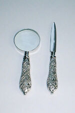 Small Silver Desk Set Magnifier Magnifying Glass & Letter Opener