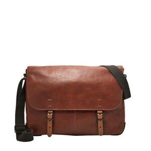 Fossil Men's Buckner Leather Messenger Bag Cognac Brown Cross-body MBG9037222