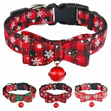Christmas Dog Collar with Bow Tie Bell Adjustable for Boy Girl Puppy Pet Fabric