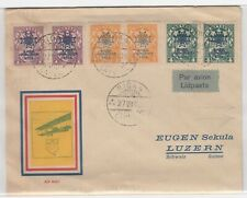 Latvia Old Airmail Cover Riga -Luzern Switzerland Airplane Label Overprint 1928