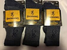 3X Browning 70% Merino Wool Hiking Thermal  Men's Woman Crew Socks L  Size 9-13