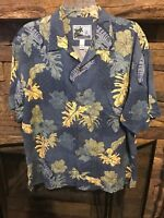 AFCO Bluewater Men's Aloha Short Sleeve Shirt Size Large L Marlin/Swordfish Blue