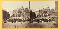 Italia Venezia Place Chiamato Animata, Foto Stereo Albumina Ca 1860